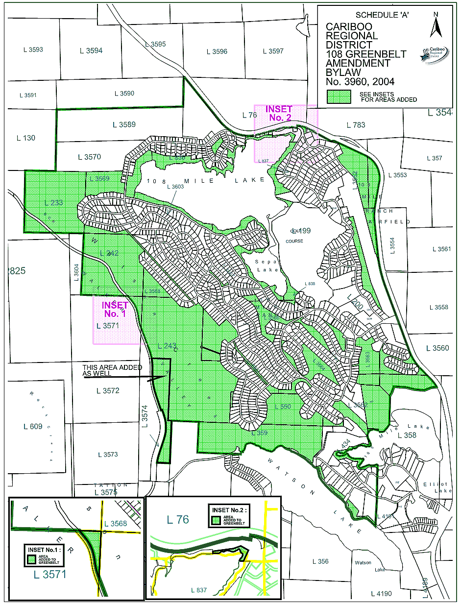 Map of 108 Mile Ranch greenbelt
