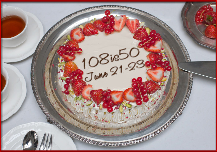 108 is 50 Celebration Cake